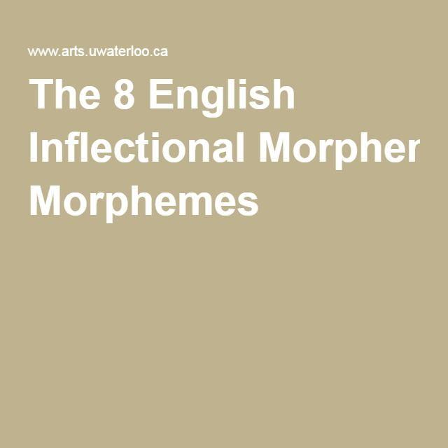 The 8 English Inflectional Morphemes English Grammar Pinterest