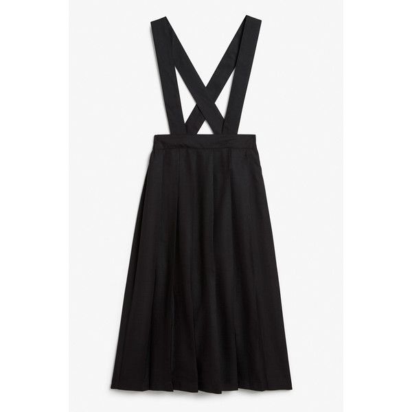 a1d63935c4 Monki Pleated dungaree skirt ($20) ❤ liked on Polyvore featuring skirts,  black magic, button skirt, pleated skirt, knee length pleated skirt, ...
