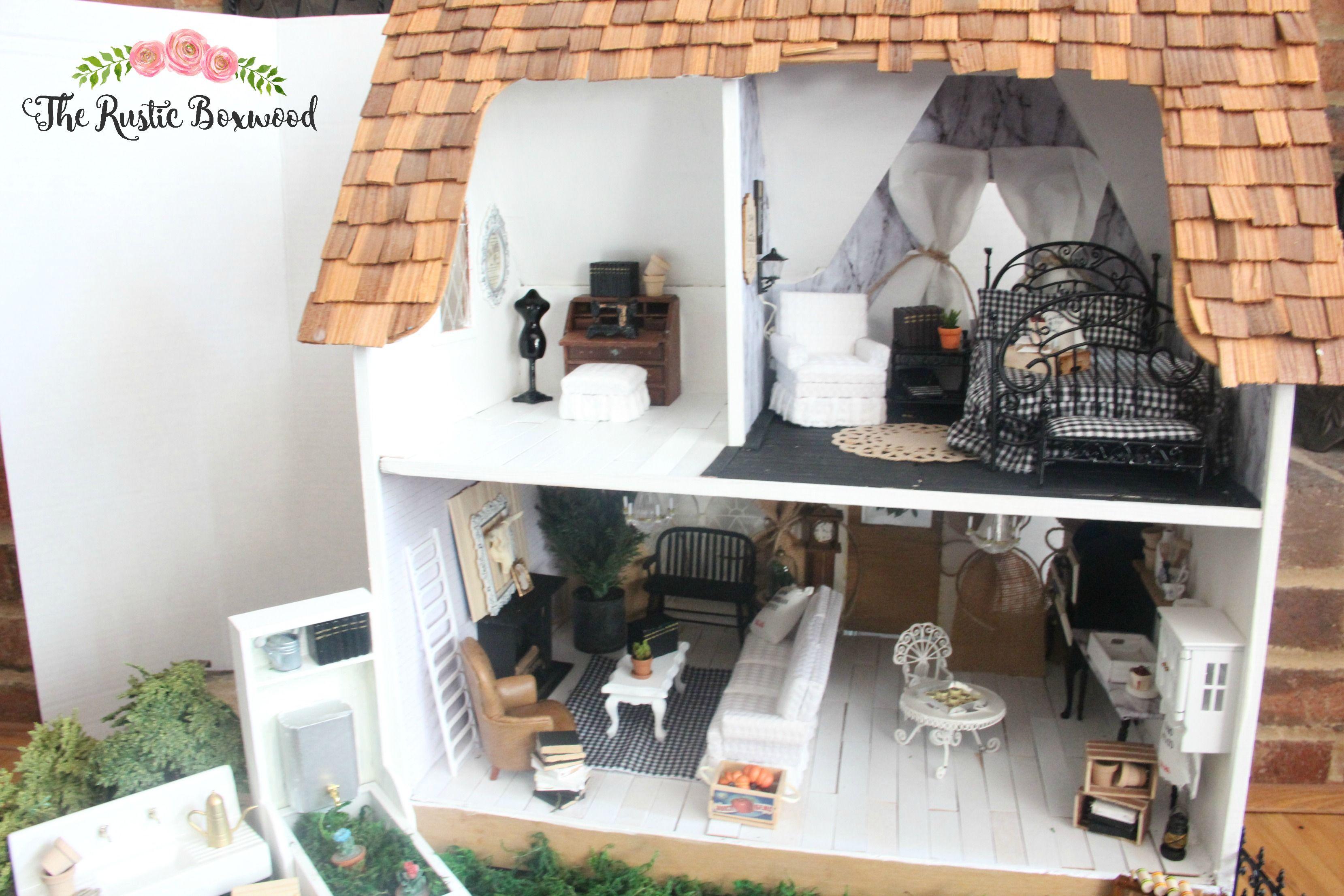 Diy Farmhouse Styled Dollhouse Makeover The Rustic Boxwood Diy Modern Minis Miniatures Dollhouse Min Diy Farmhouse Decor Doll House Farmhouse Style Diy