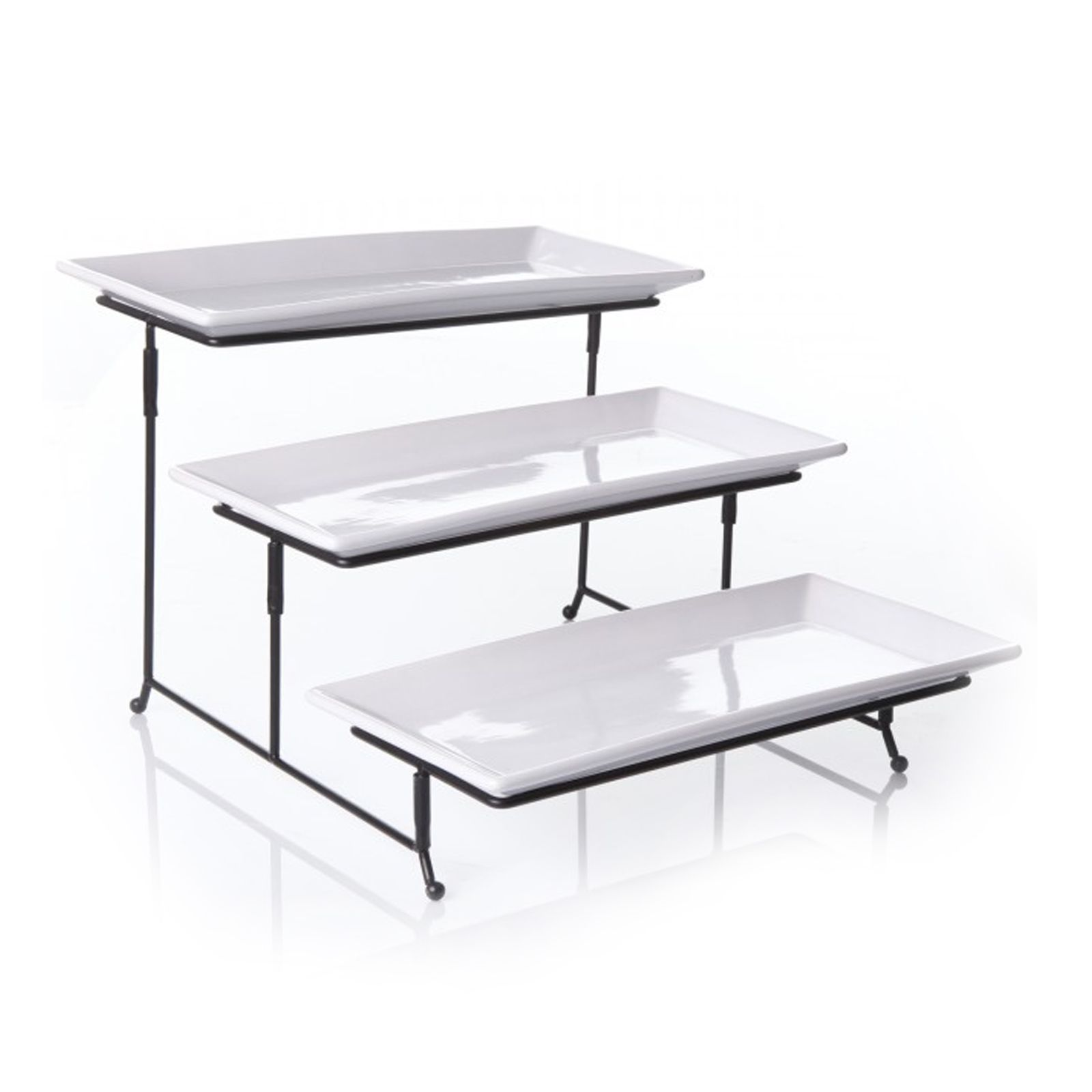 Gibson Gibson Gracious Dining 3 Tier Plate Set With Metal Stand Cake Tray Cake Stand Ceramic Tiered Serving Stand
