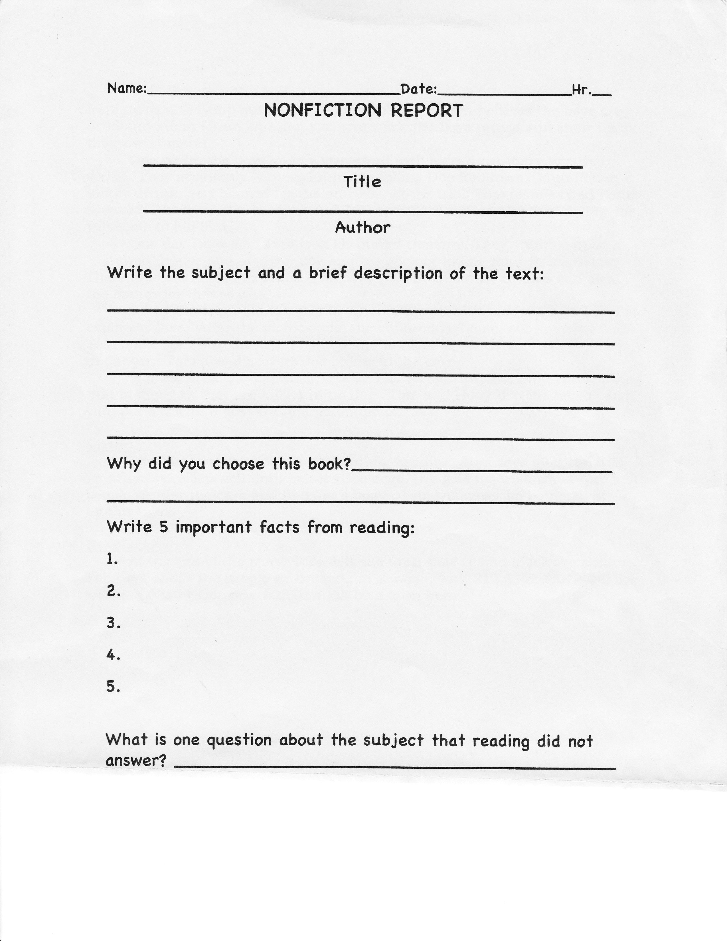 College Book Report Template Non Fiction The 28 Reasons Within