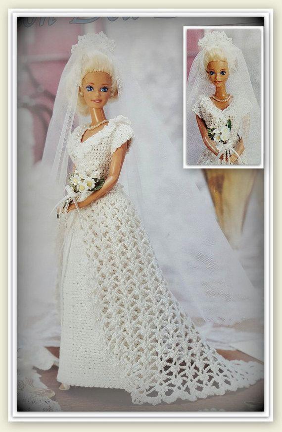 Barbie Pattern - Crochet Bridal Dress, Gown, Overdress & Crocheted ...
