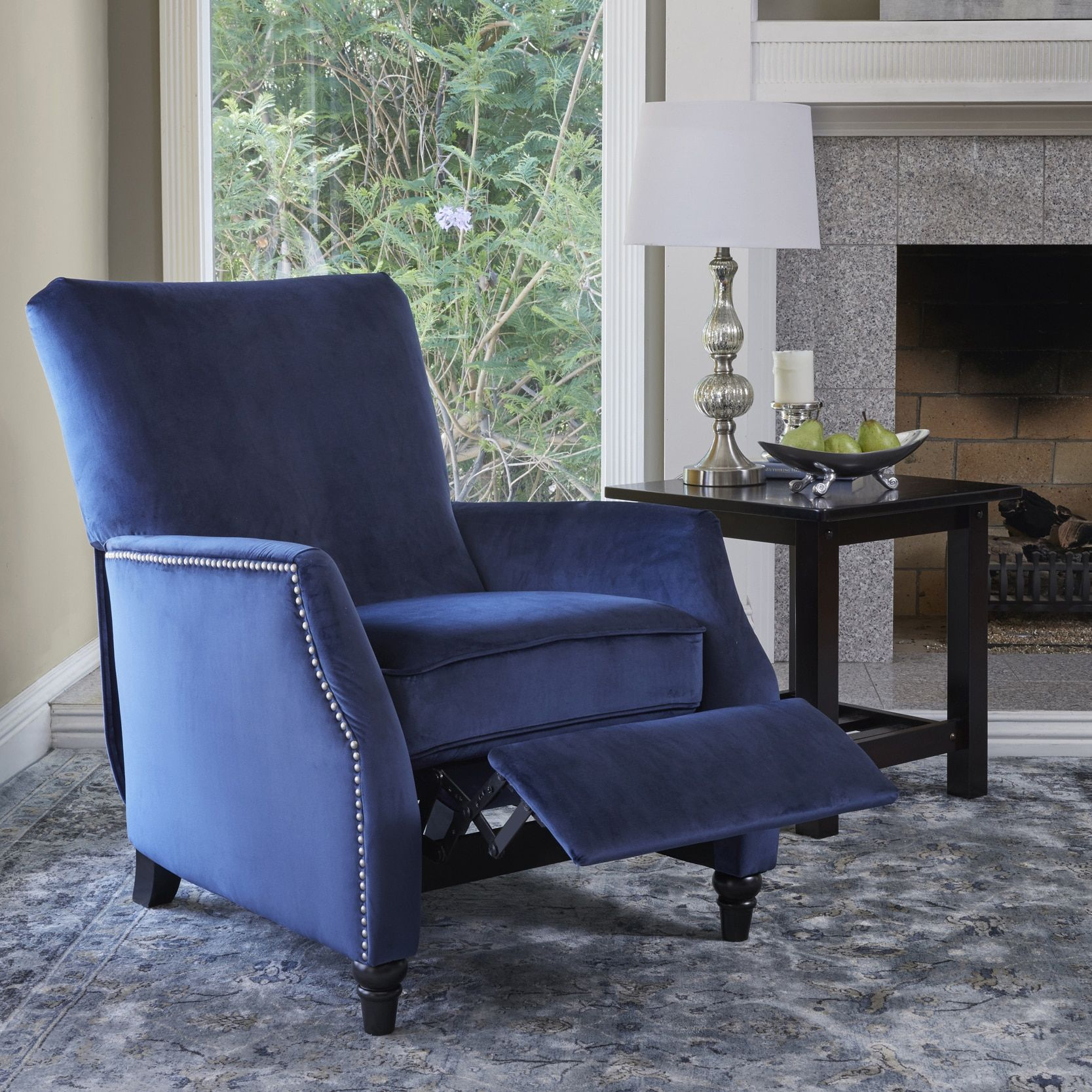 navy blue velvet club chair cheap cover hire perth prolounger push back recliner size standard polyester