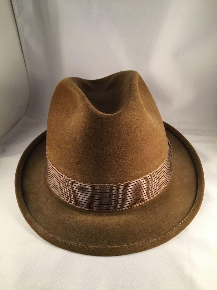 3ff5fd0d40678 Vintage Royal De Luxe The Gun Club STETSON Fedora Hat Brown Sz 7 1 4 ...