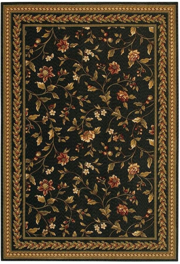 Couristan Royal Luxury Winslow Framed Floral Wool Rug Black Area Rugs Luxury Area Rugs Area Rug Design