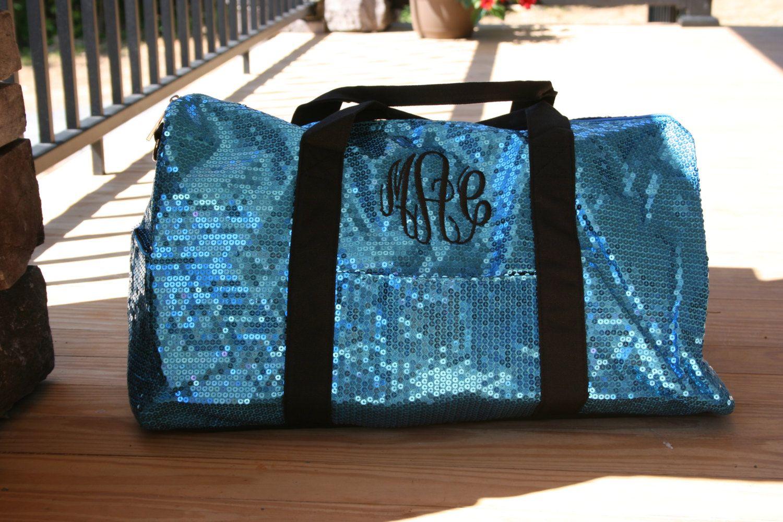 Girls Dance Duffle Turquoise /& Green Sequin /& Shoulder Strap Bag