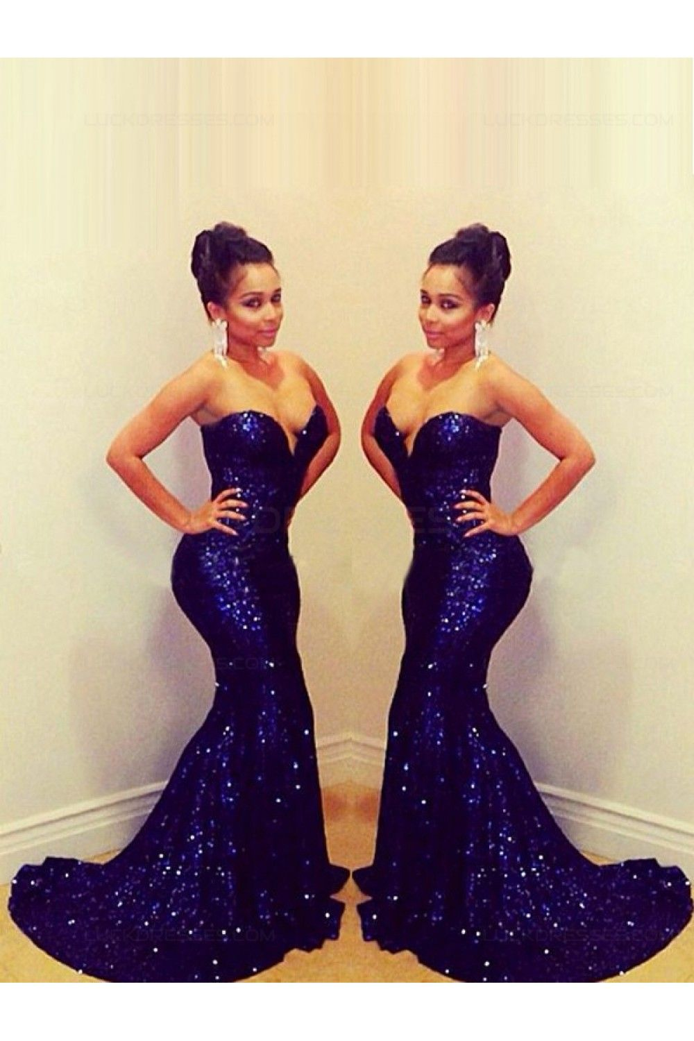 Sexy sweetheart long blue sequins prom evening formal dresses