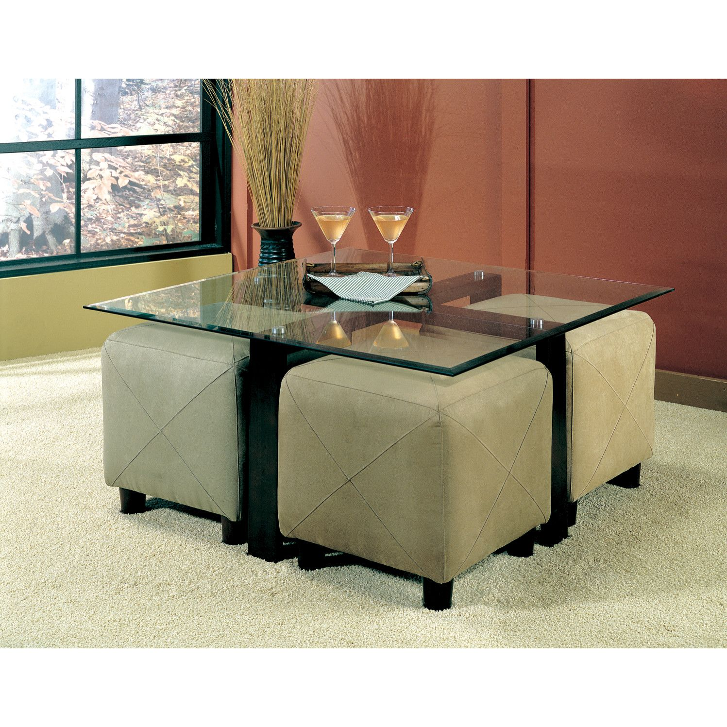 Wildon Home Hines Coffee Table With Stools Underneath Black Ottoman Diy