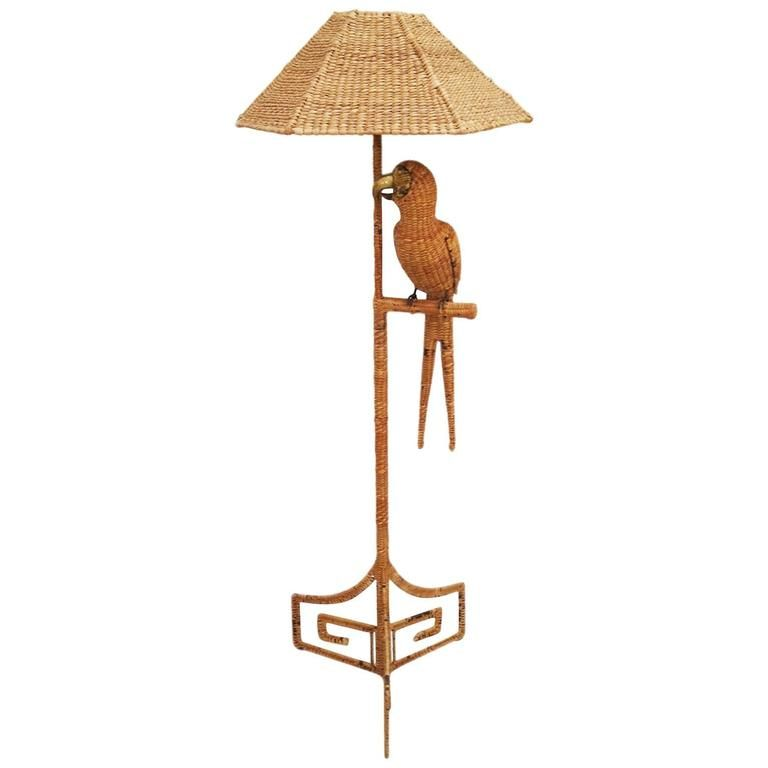 Vintage Reed Parrot Floor Lamp by Mario Lopez Torres | Modern floor ...