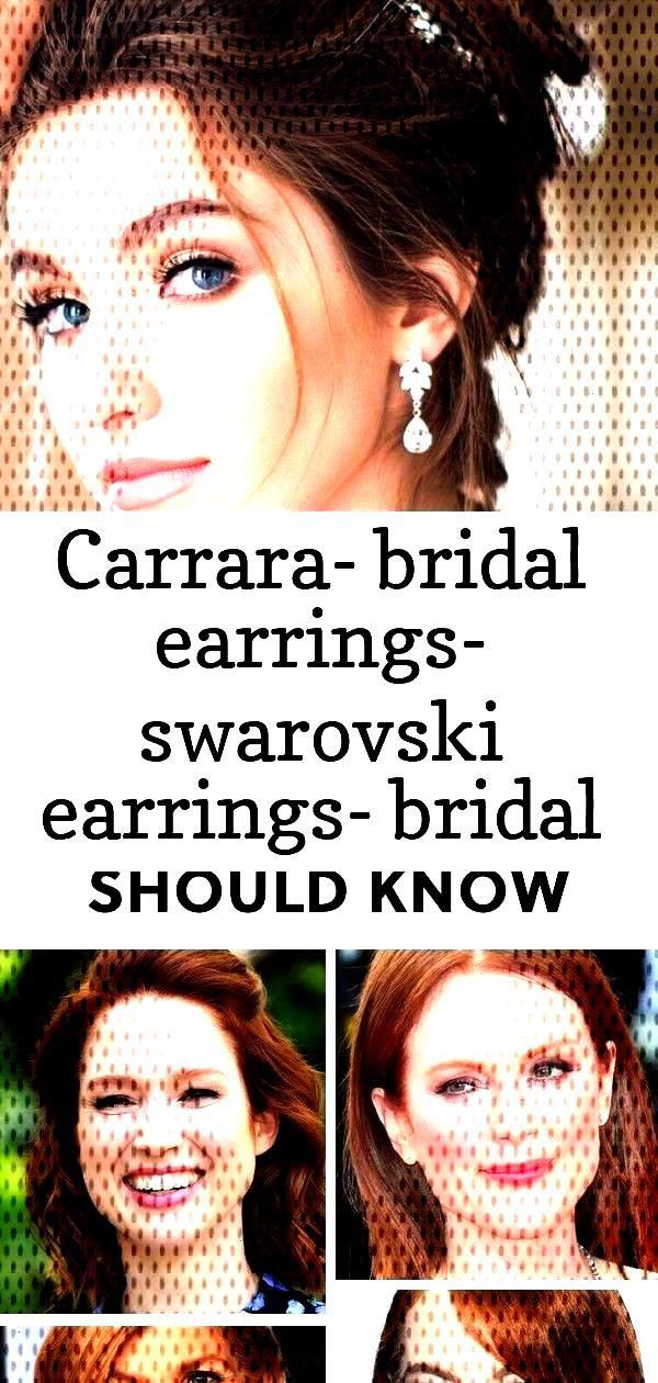 Carrara- bridal earrings- swarovski earrings- bridal jewelry- pearl earrings- pearl bridal earrings
