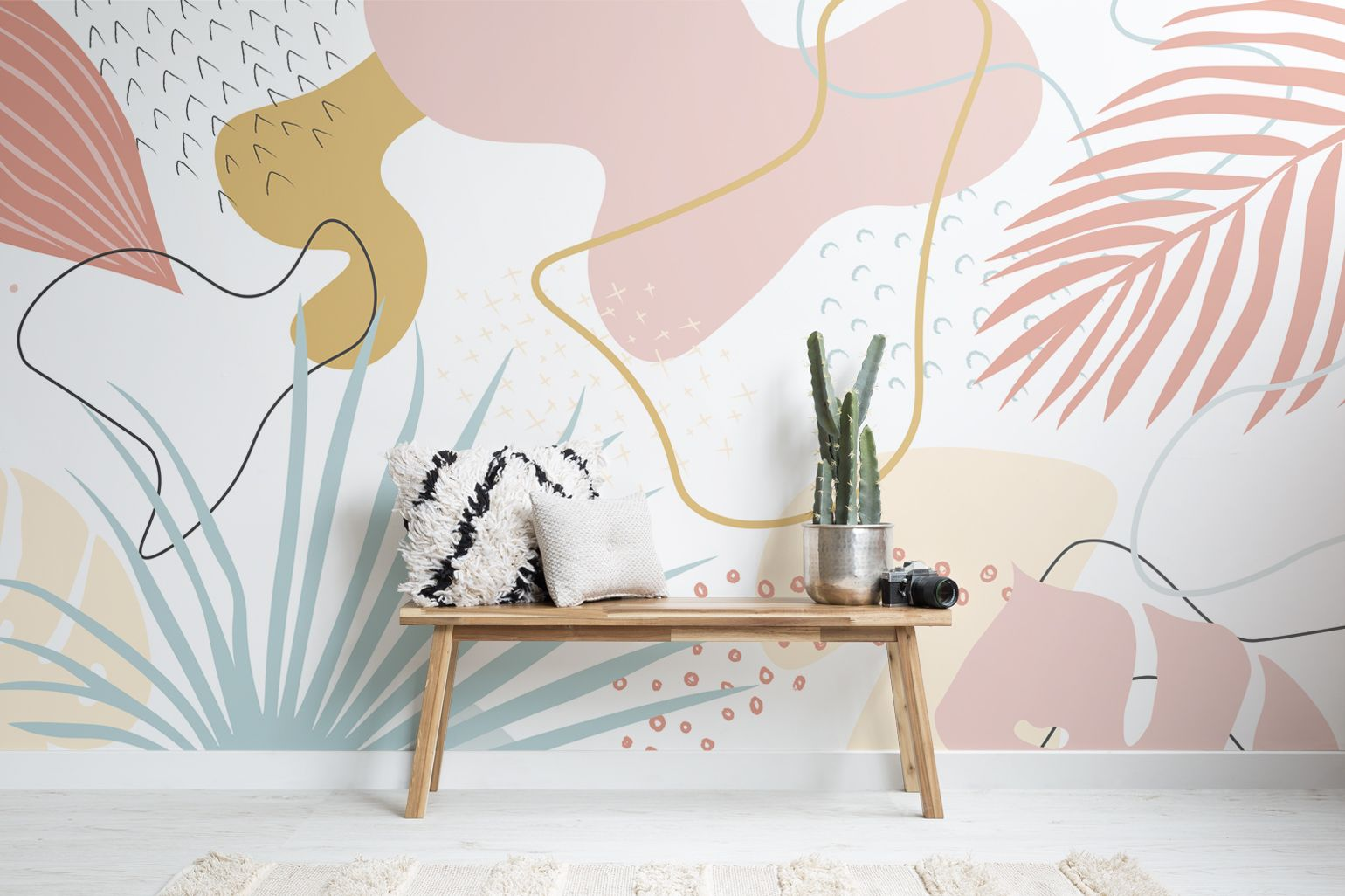 Pink & Blue Abstract Leaves Tropical Wallpaper Mur