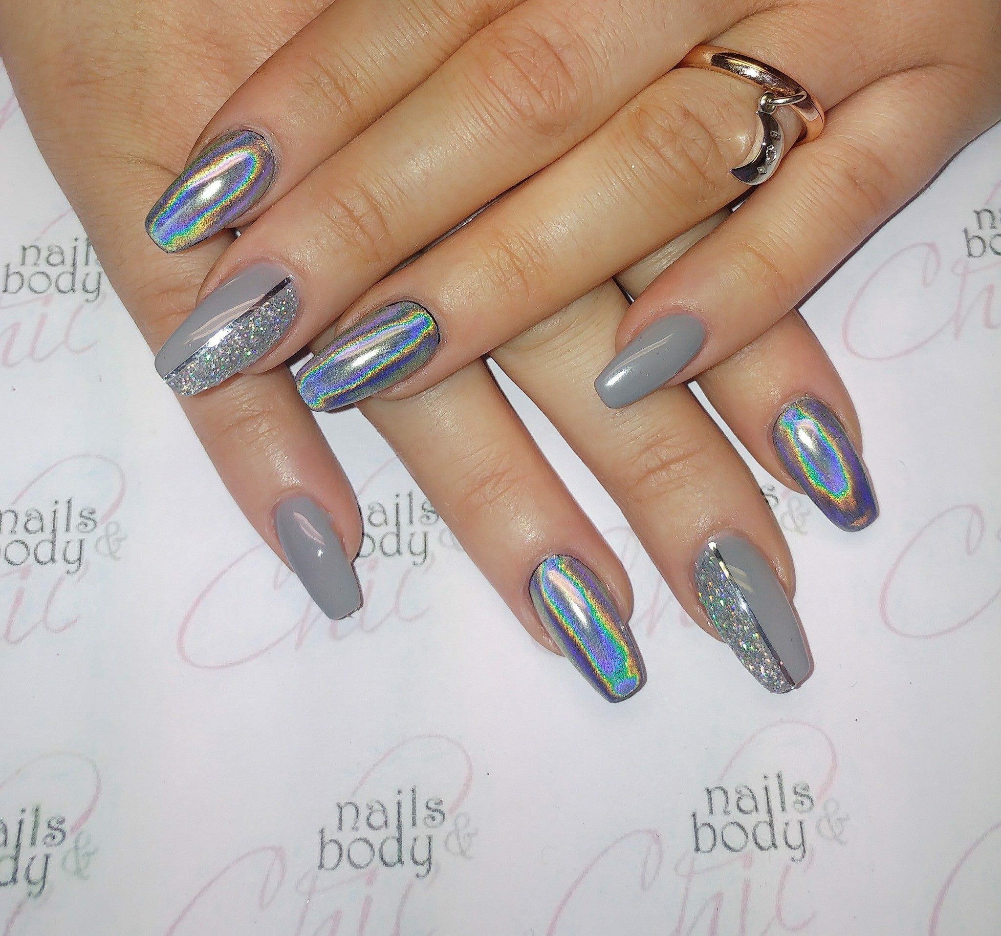 Unghie grigio effetto specchio nails pinterest - Unghie gel specchio ...