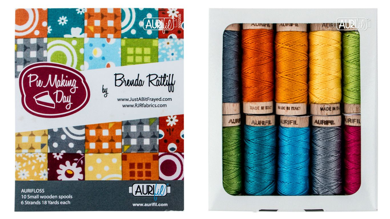 """#auridesigner highlight fro Brenda Michelle Ratliff from Pink Castle Fabrics fabric designer at RJR Fabrics and her Aurifil's thread collection """"Pie Making Day"""" (SKU #BR30PMD10) in #Aurifloss ...find out more about Brenda on http://www.justabitfrayed.com and her fabrics on http://www.rjrfabrics.com/designers/14/"""