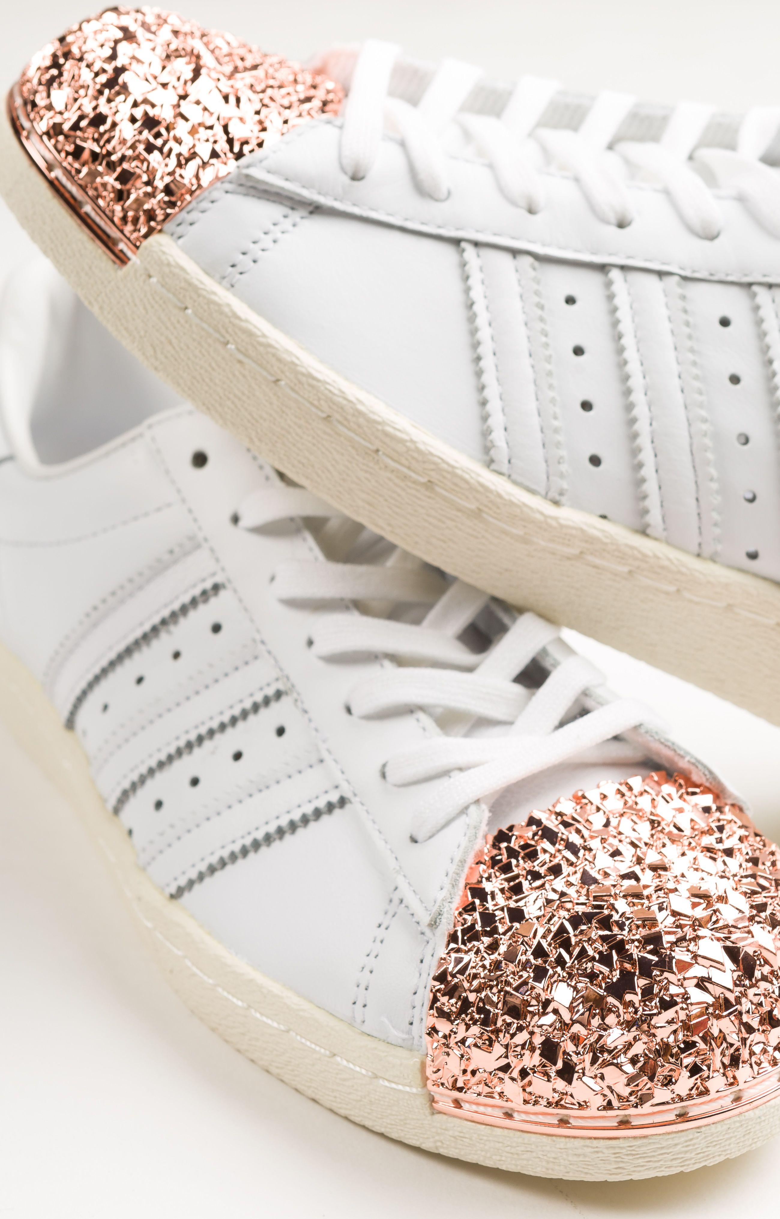 Details zu Schuhe Adidas Superstar mit Silber Glitter und Spitze Weiß
