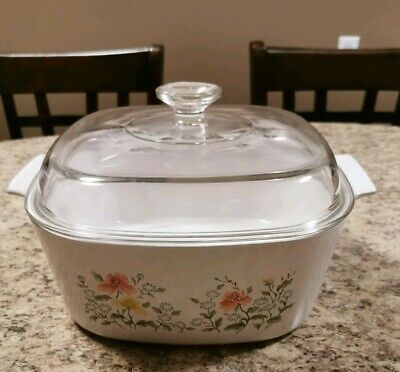 Vintage Corning Ware Wildflower #17 A-5-B 5L Casserole Dish With Lid #dishware