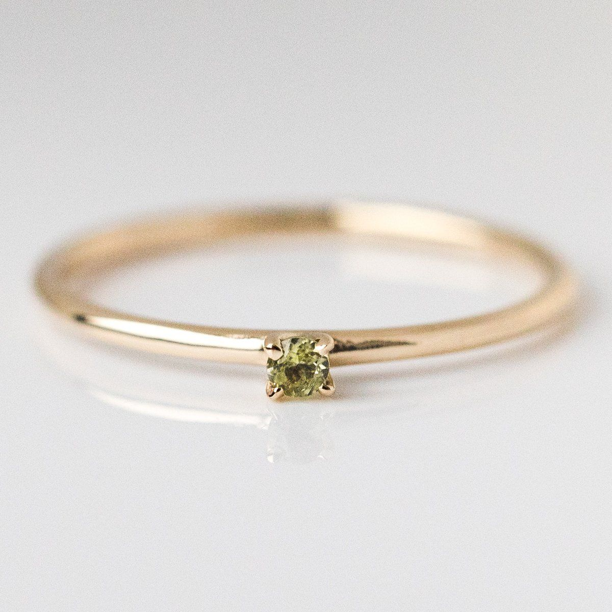 14Kt Gold Simulated Peridot Round Heart Ring