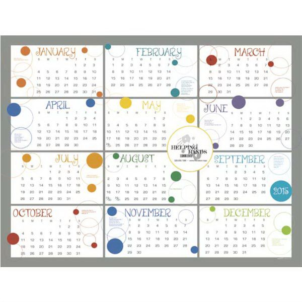 2015 horizontal contemporary span-a-year calendar is a new twist on an old favorite! This calendar is a favorite  amongst college students.