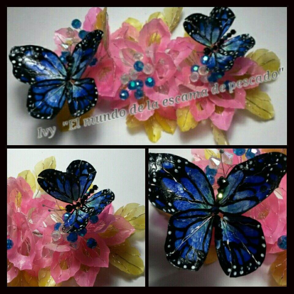 Peineta con mariposas monarcas