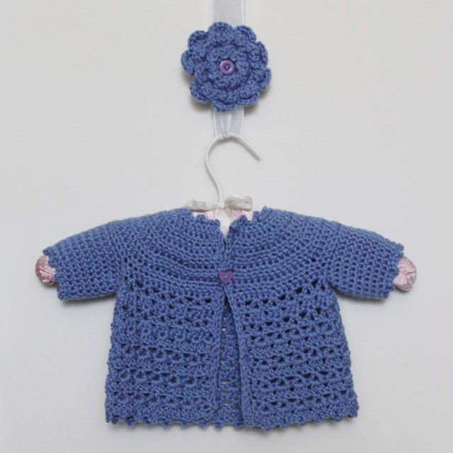 Picot And Lace Baby Sweater With Flower Brooch For Mom Hekla