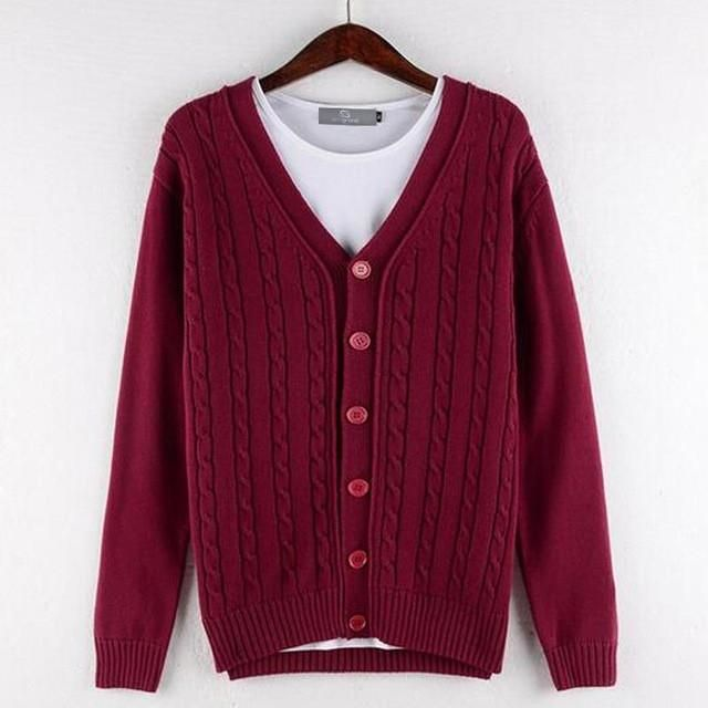 100% Cotton Button Up Knitted Cardigan - Red, 4 colours