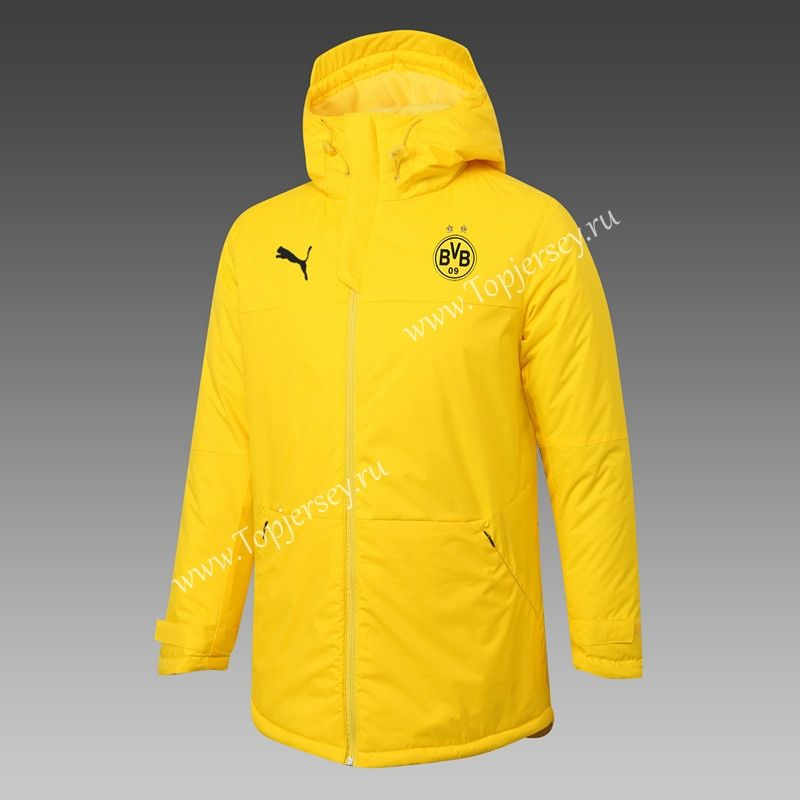 2020-2021 Borussia Dortmund Yellow Cotton Coat With Hat-815 in ...