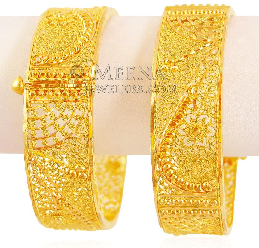 22K Filigree Wide Kada 2 PCs - BaKa18806  - US$ 5,