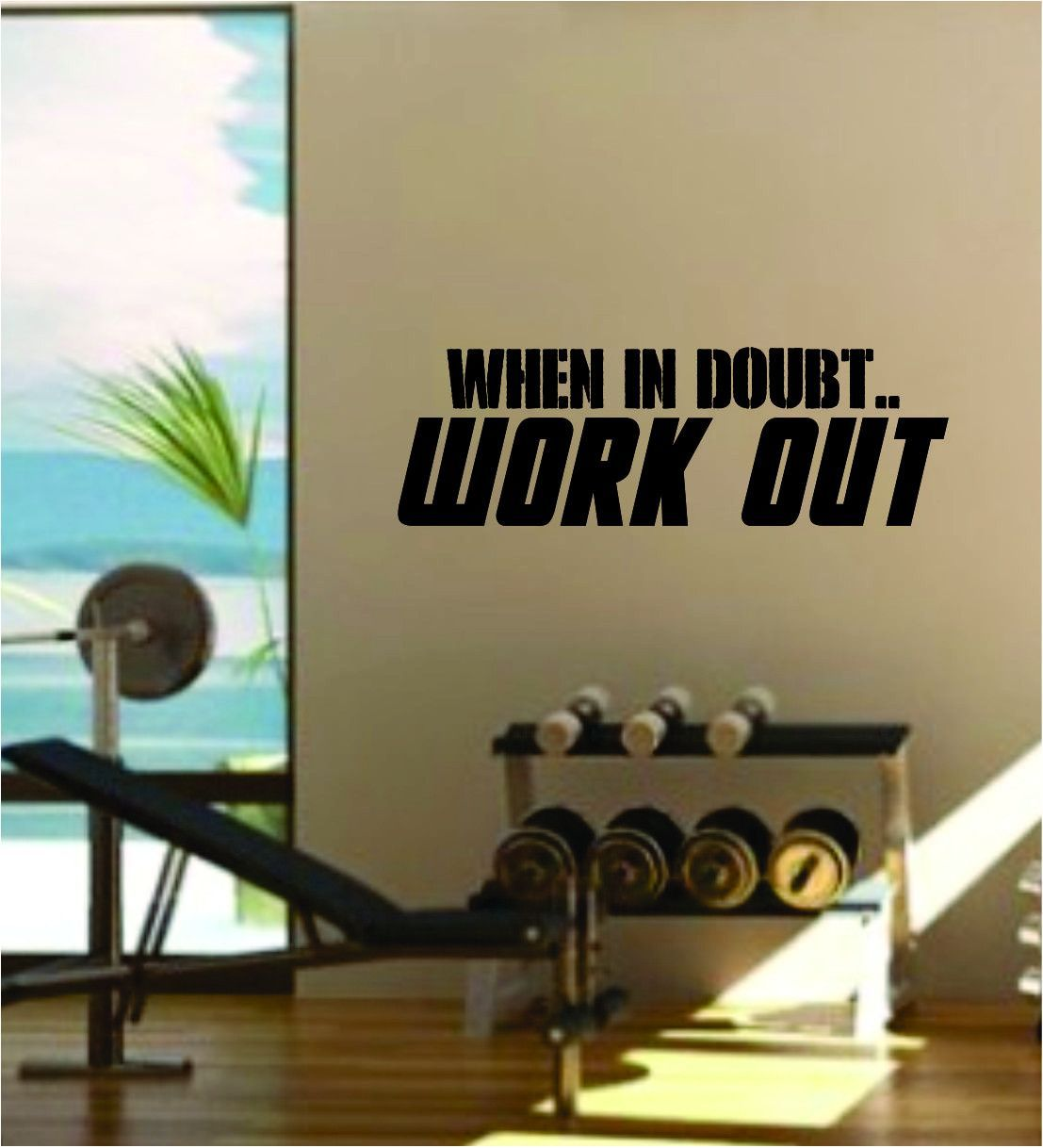 When In Doubt Work Out Quote Fitness Health Work Out Gym Decal Sticker Wall  Vinyl Art