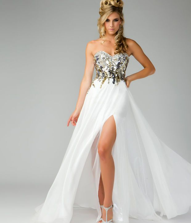 Awesome Prom Dresses Mac Duggal Prom 2013- Gold Top Ivory Dress ...