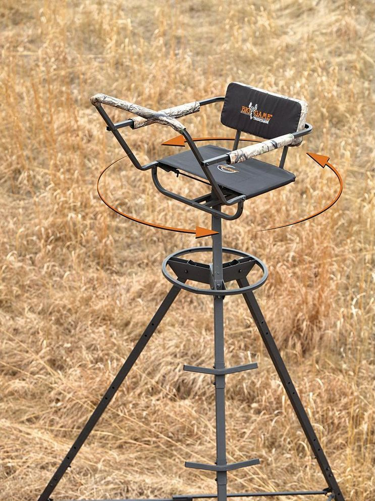 Swivel Chair Tree Stand Office Chairs For Sciatica Tripod 12 Ft Climbing 360 Degree Ladder Big Game Hunting Deer