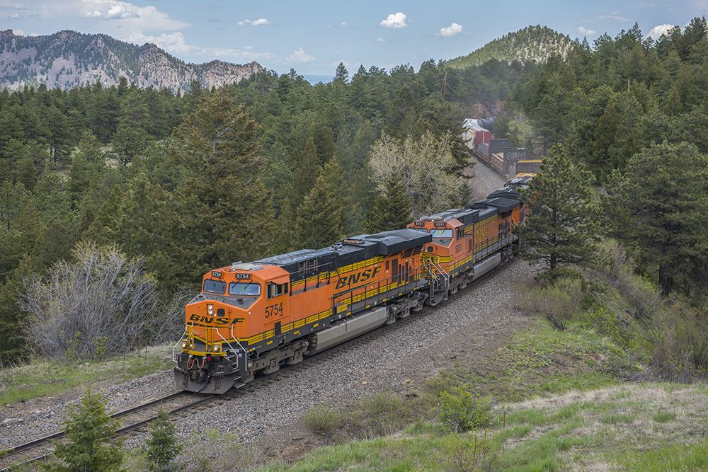 https://flic.kr/p/HAtXYy | Westbound at Crescent | BNSF westbound trackage rights train (Denver to Stockton) approaches the east switch at Crescent, Colorado, on May 28, 2016. This is on Union Pacific's Moffat Tunnel Subdivision about 30 rail miles west of Denver. Photo by Joe McMillan.