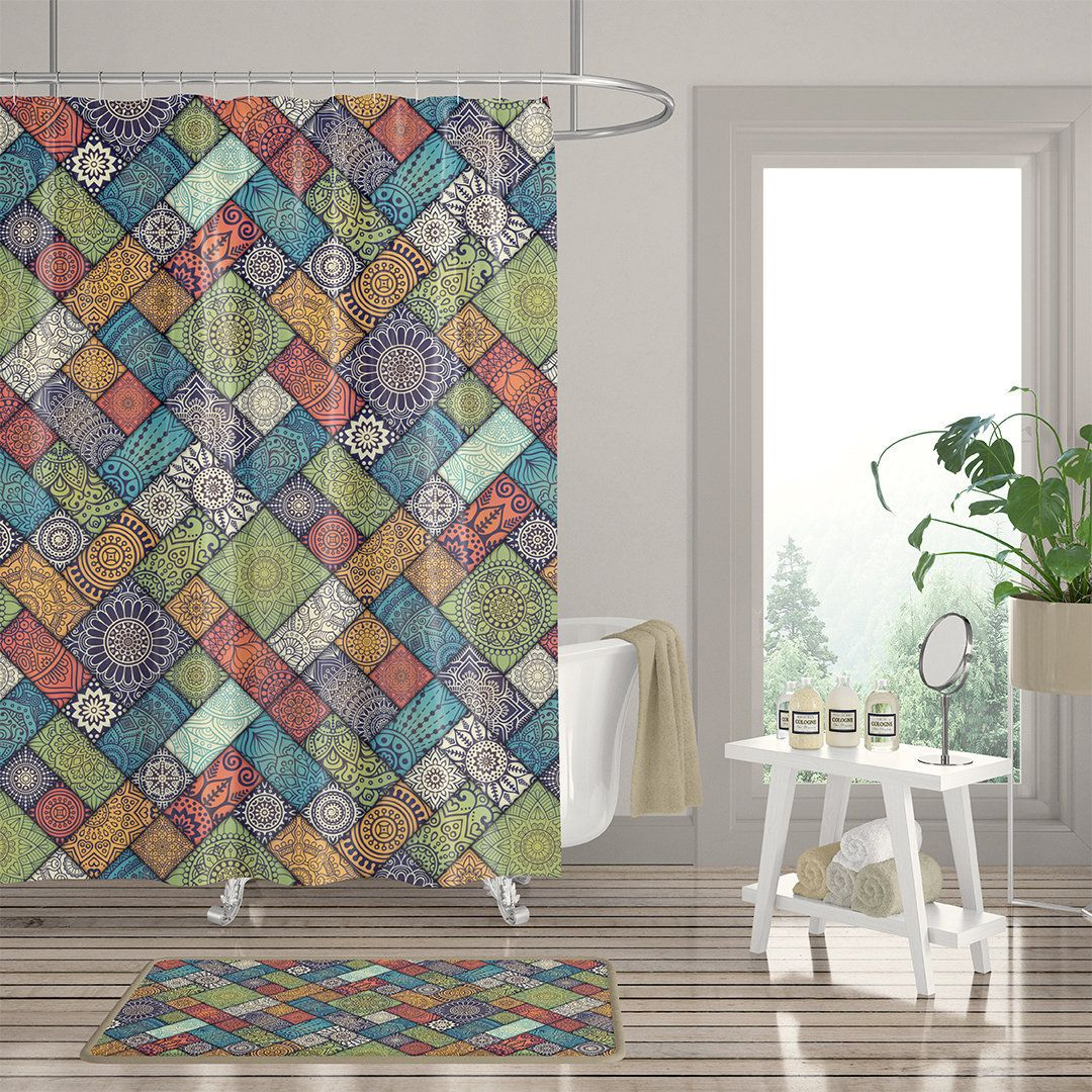 Bohemian Jewel Tone Mosaic Boho Shower Curtain Set Colorful Amber
