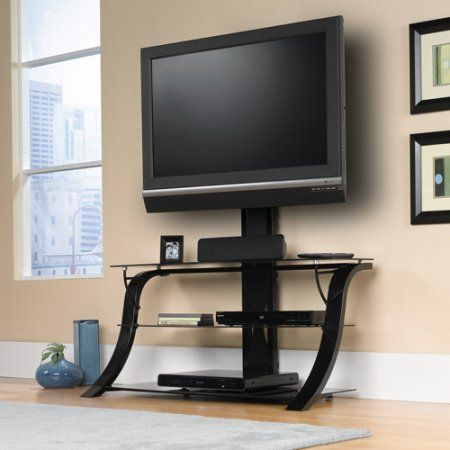 Sauder Studio Black Edge Panel Tv Stand With Mount For Tvs Up To 50