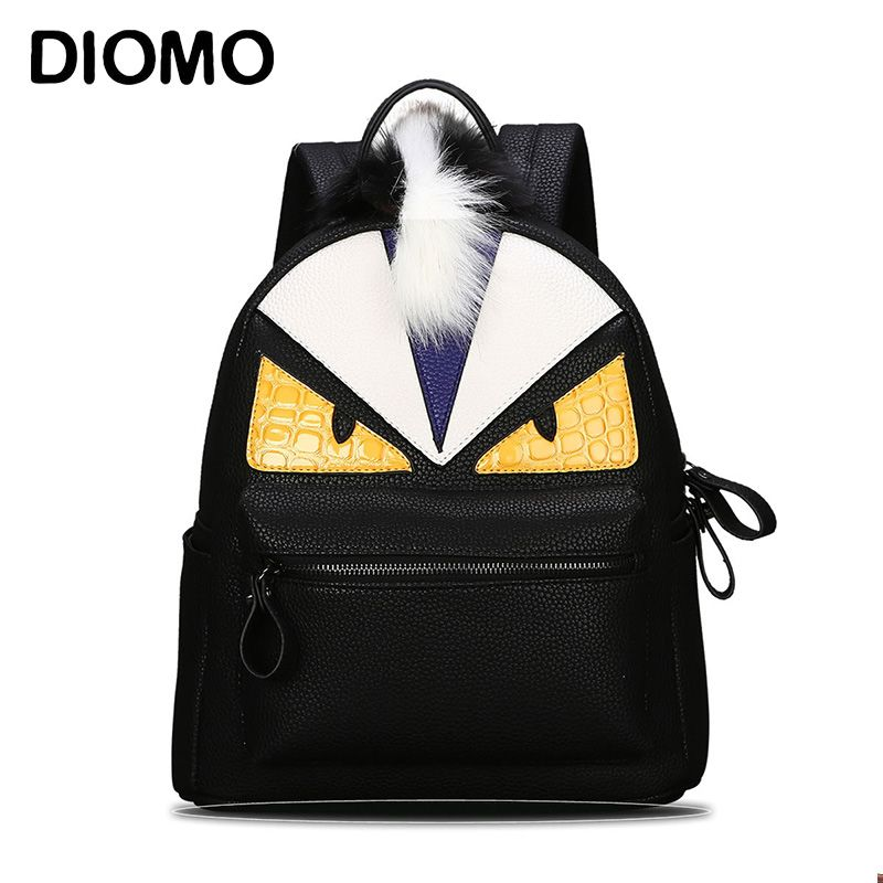 1727b115452d DIOMO Women s Backpack Designer Black Cartoon Eyes Monster Backpacks With  Fur Travel Bag Cute Backpacks For Teenage Girls