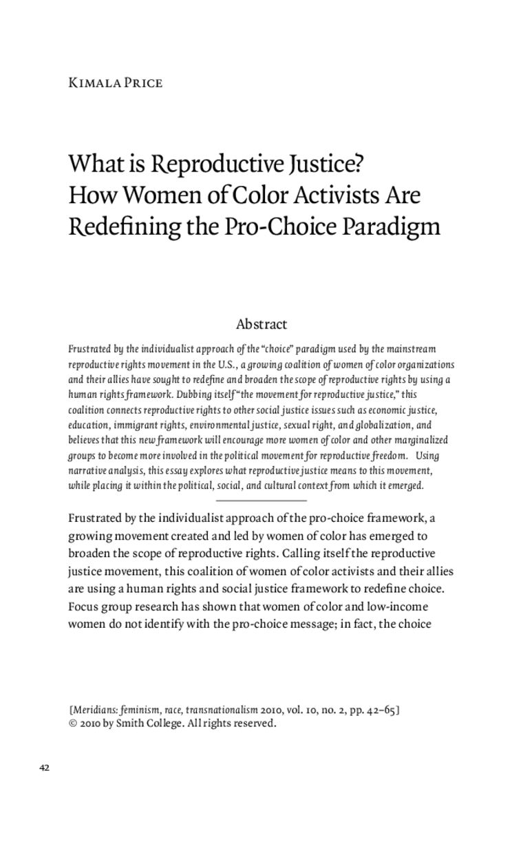 What Is Reproductive Justice How Women Of Color Activists Are Redefining The Pro Choice Paradigm On Jstor Paradigm Justice Meaning Pro Choice