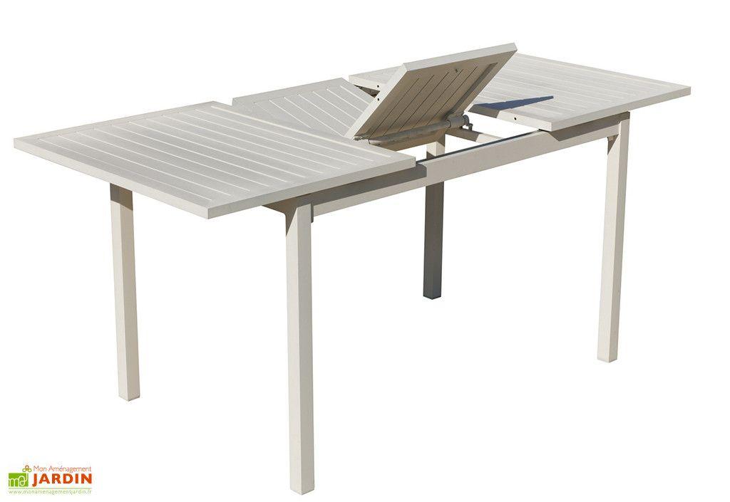 Table de Jardin Extensible en Aluminium Blanc Sarana ...