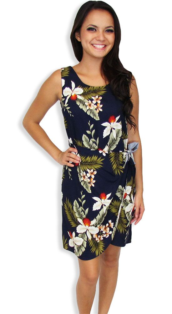41f262d9ae0 Shop from Hawaii Short Sarong Hanapepe Orchids Navy Dress at Shaka Time  Hawaii Clothing Store