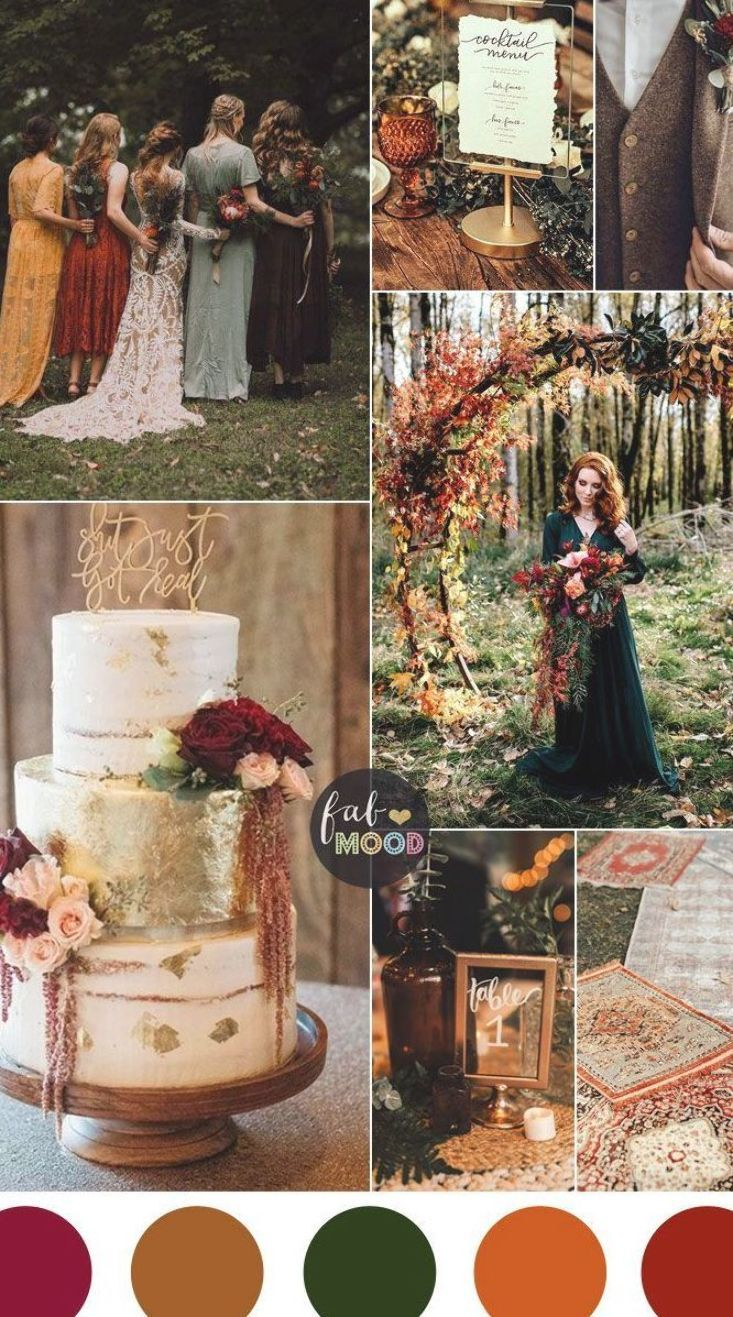 Colorful Fall Wedding Palette That Celebrate The Season – Jewel Tones, unusual fall wedding colors,unique fall wedding color schemes burgundy, burnt o…