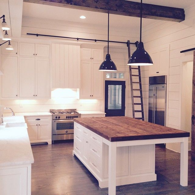 Butcher Block Island Marble Or Quartz On The Rest Of The Counters Love Modern Farmhouse Kitchens Farmhouse Style Kitchen Home Kitchens