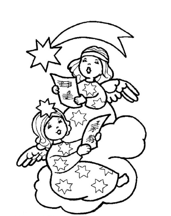 Two Christmas Angel Singing Christmas Song Coloring Pages | angel ...