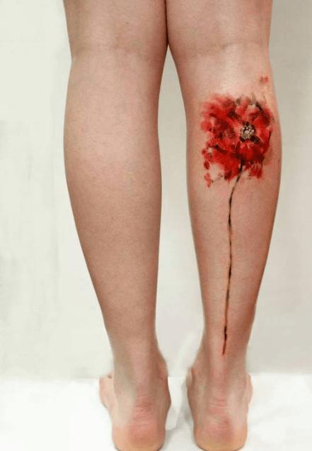 tatouage mollet aquarelle coquelicot | tatoo | pinterest | tattoos