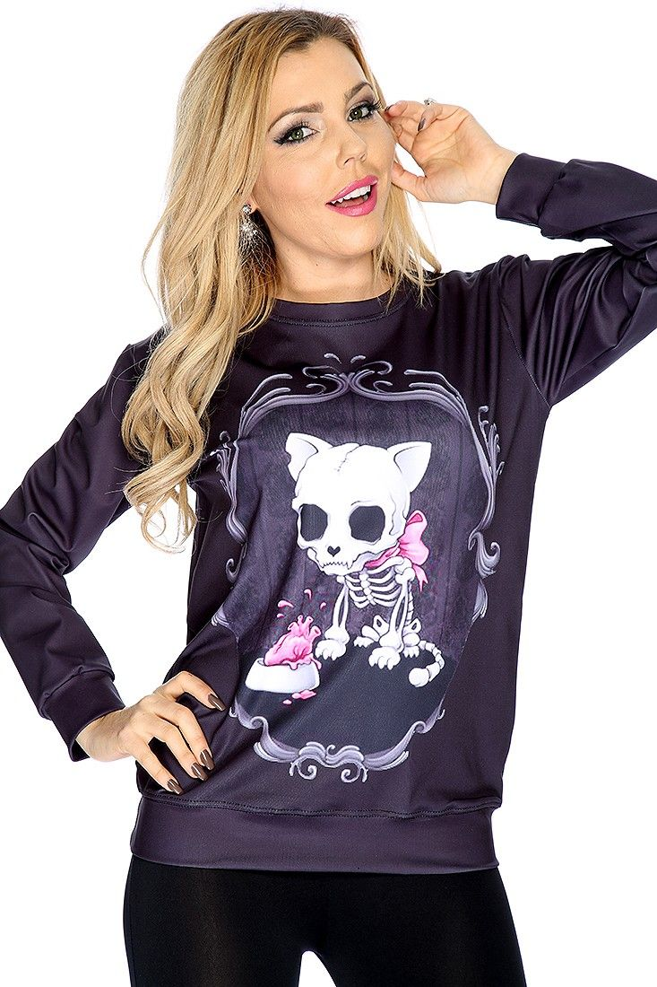Features round neck, long sleeve, design detail,  pull over, fitted wear.