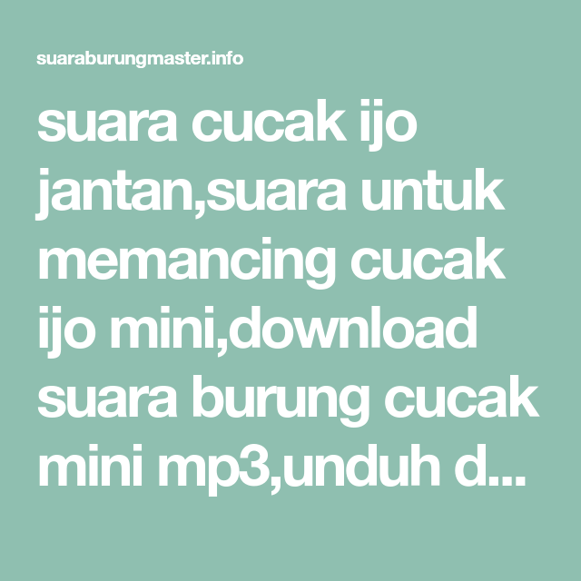 download cucak ijo full isian
