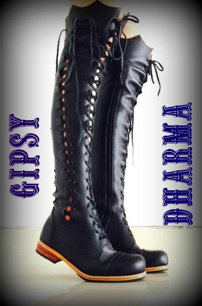 Clockwork Fairy' Knee High Boots in Black for Pre Order