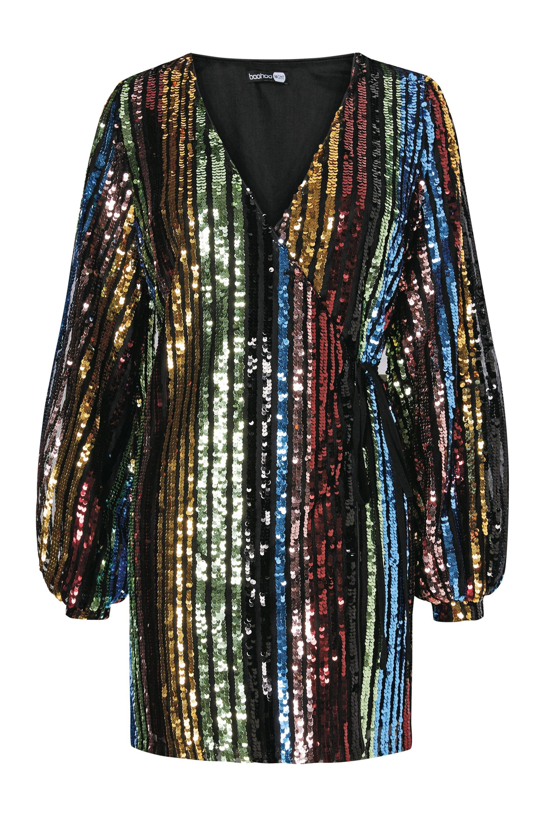c5fbb60639c6 Womens Boohoo Rainbow Sequin Blouson Sleeve Wrap Dress - Green ...