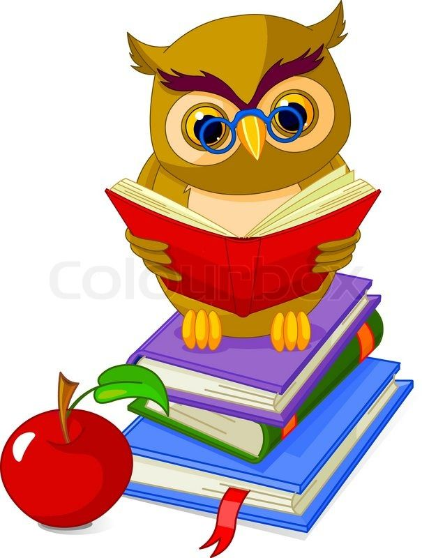 Cartoon Wise Owl Sitting On Pile Book And Red Apple