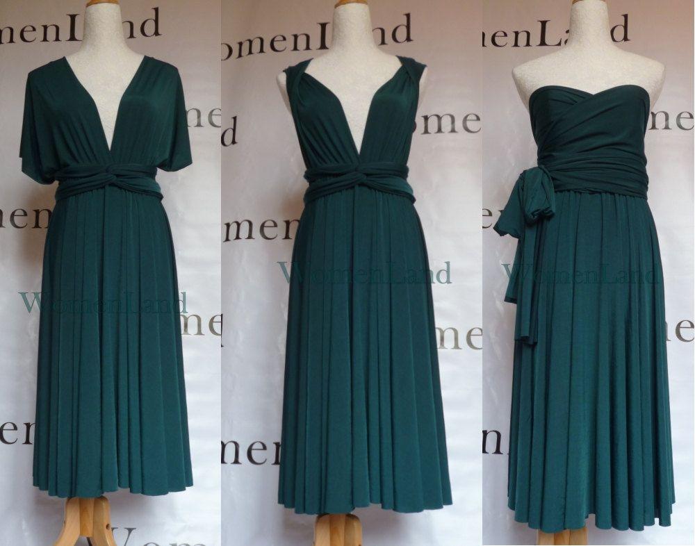 b8411d9639 Knee Length Infinity Dress Convertible Dress Dark Green Woman Dress ...