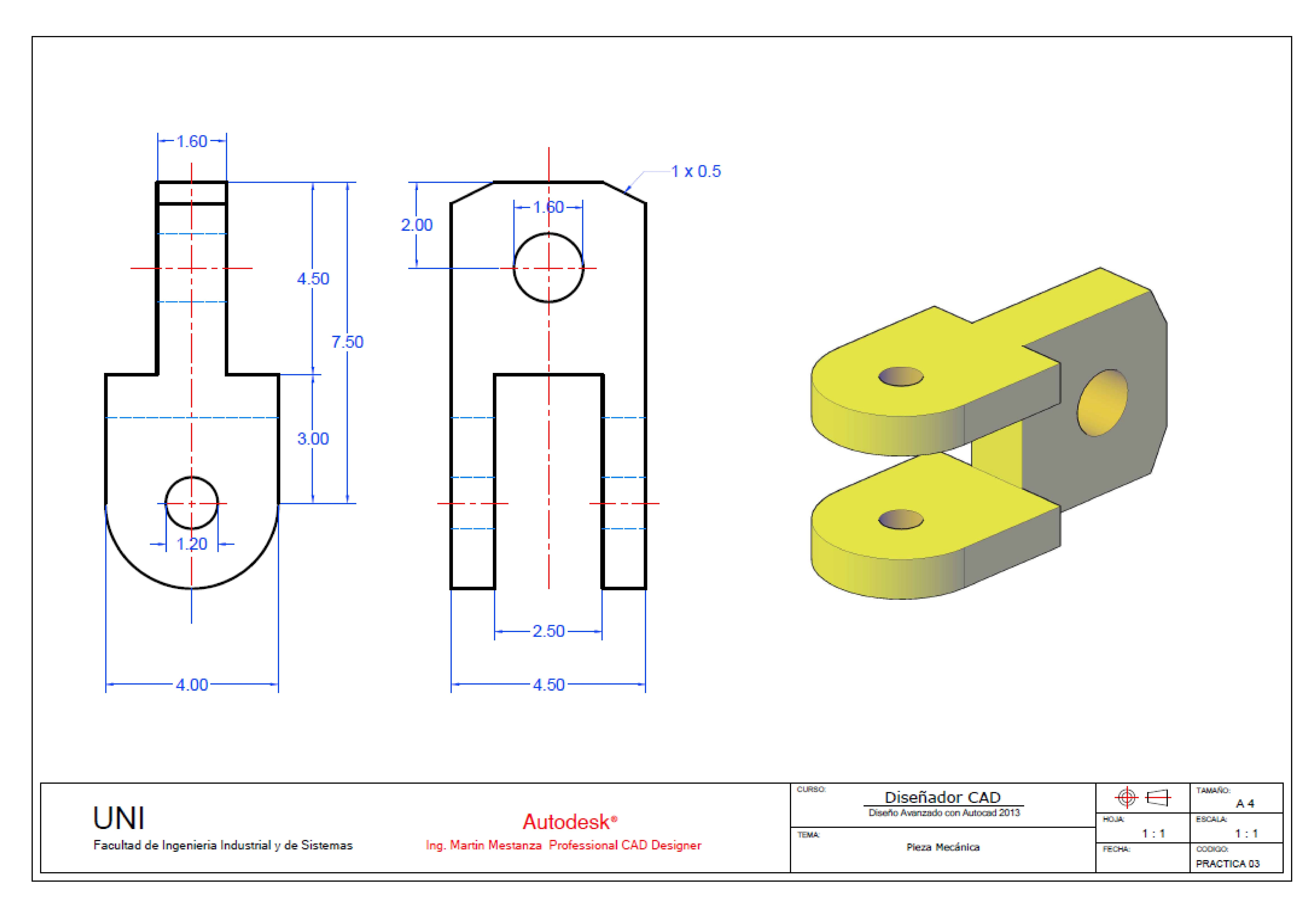 Practica De Clase Solidworks Tutorial Technical Drawing Autocad