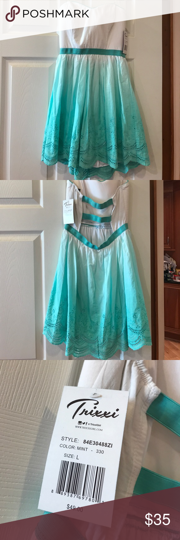The dress is white - White And Mint Green Ombr Dress Nwt