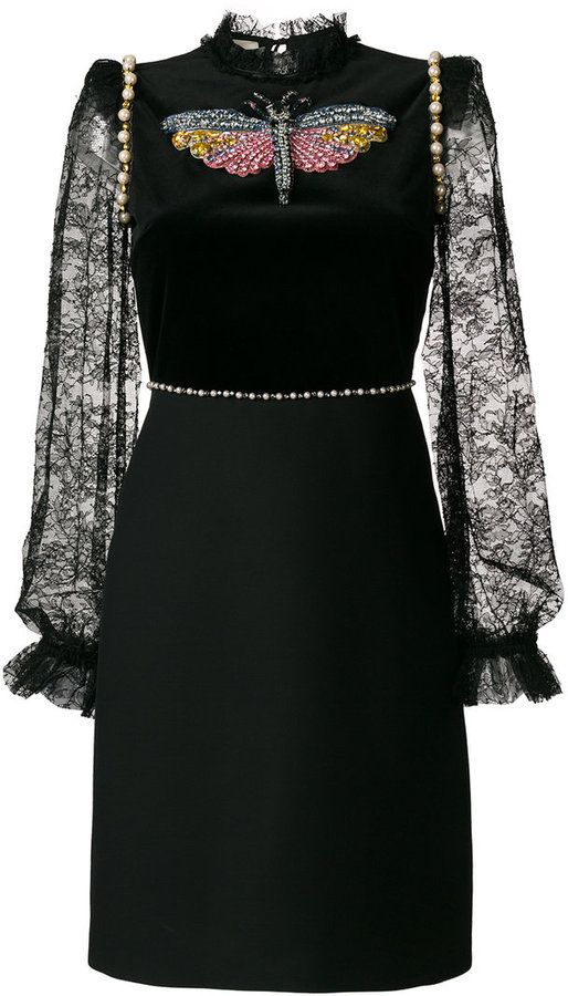 987afb349 Gucci embellished lace-trimmed dress   clothes in 2019   Dresses ...