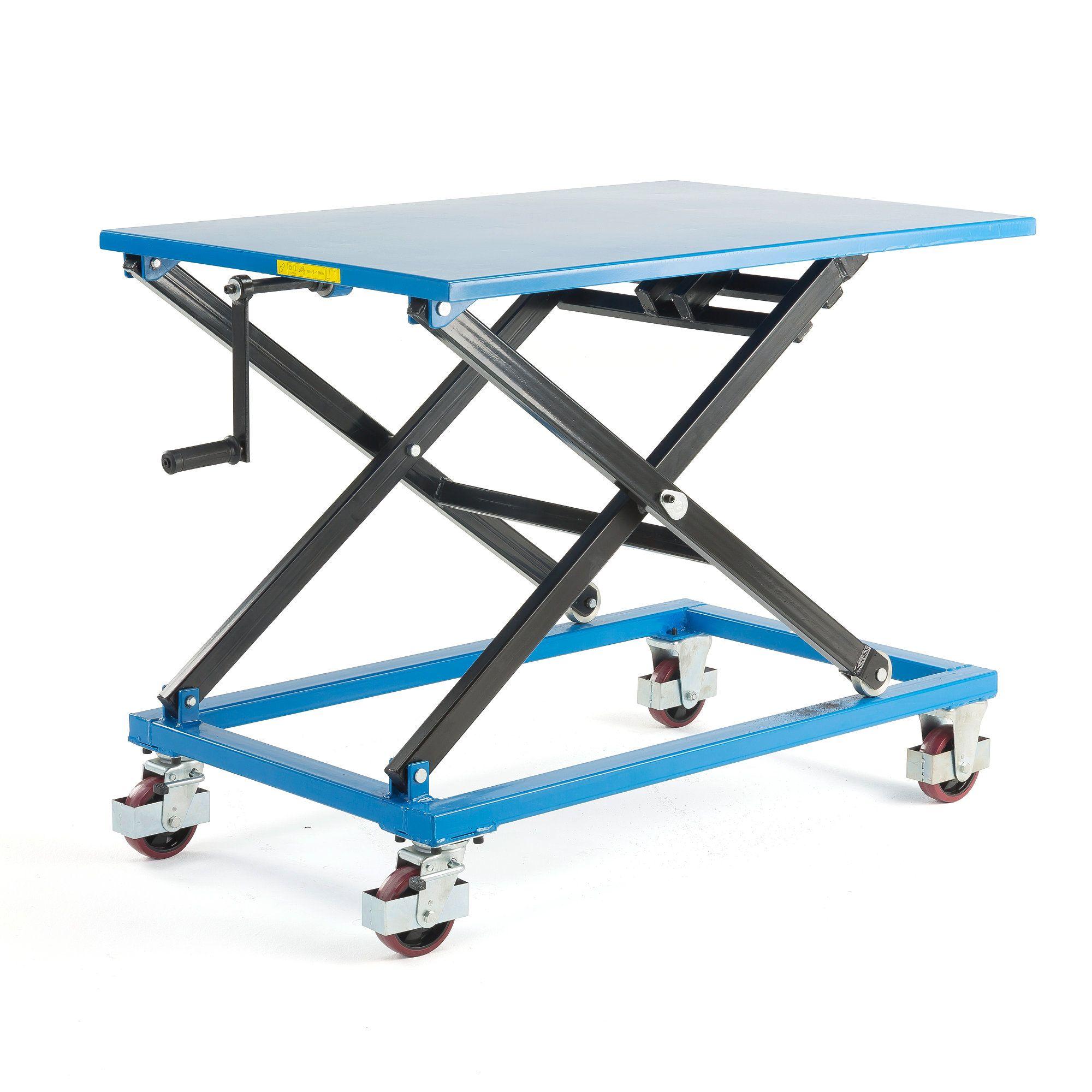 Manual lift table, mobile, 350 kg, 1200x800x450 mm Motos